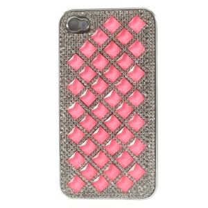 For iPhone 4S 4 3D Rhombus Pattern Diamond Plated Hard Shell - Hot Pink
