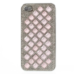 For iPhone 4S 4 3D Rhombus Pattern Diamond Plated Hard Cover - Light Pink