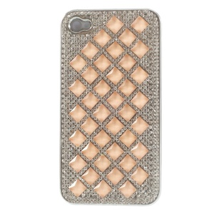 3D Rhombus Pattern Diamond Plating Hard Cover for iPhone 4S 4 - Orange