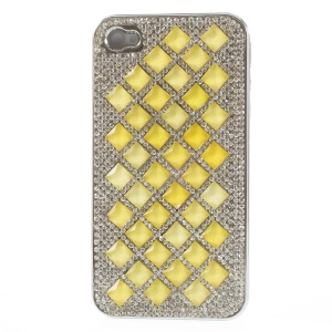 3D Rhombus Pattern Diamond Plating Hard Case for iPhone 4S 4 - Yellow