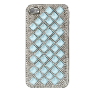 3D Rhombus Pattern Diamond Plated Hard Phone Case for iPhone 4S 4 - Blue