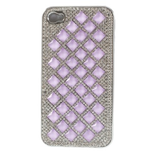 3D Rhombus Pattern Diamond Plated Hard Back Case for iPhone 4S 4 - Purple