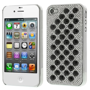 3D Dots Pattern Diamond Electroplating Hard Phone Case for iPhone 4S 4 - Black