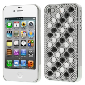 3D Dots Pattern Diamond Electroplating Hard Cover for iPhone 4S 4 - White / Black