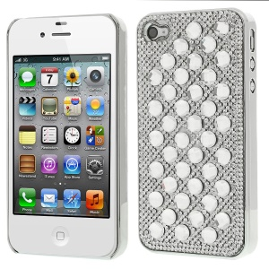 3D Dots Pattern Diamond Electroplating Hard Back Cover for iPhone 4S 4 - White