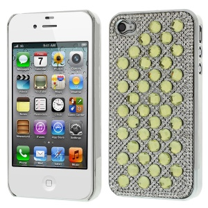 3D Dots Pattern for iPhone 4S 4 Diamond Electroplating Hard Back Case - Yellow