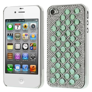 3D Dots Pattern for iPhone 4S 4 Diamond Electroplating Hard Shell Case - Green