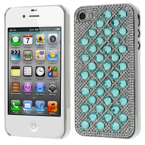 For iPhone 4S 4 3D Dots Pattern Diamond Electroplating Hard Protector Case - Blue