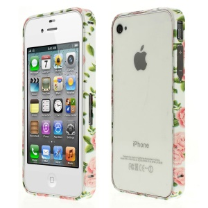 Aluminum Alloy Bumper for iPhone 4s 4 - Pink Flower