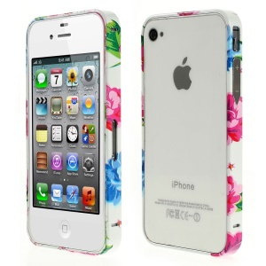 For iPhone 4s 4 Aluminum Alloy Bumper Frame - Pretty Blossom