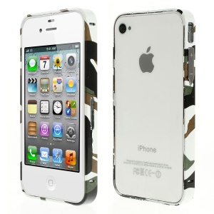 For iPhone 4s 4 Aluminum Alloy Bumper Frame - Camouflage Pattern