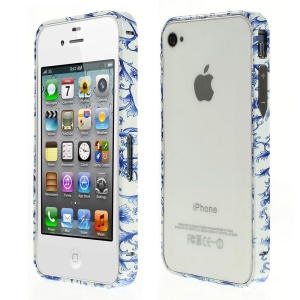For iPhone 4s 4 Aluminum Alloy Bumper Frame - Royalblue Flower