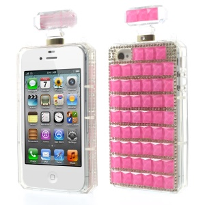 Rose Bling Diamond Perfume Bottle TPU Back Case for iPhone 4s 4