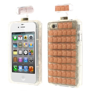 Orange Bling Diamond Perfume Bottle TPU Back Shell for iPhone 4s 4