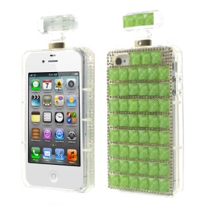 Green Bling Diamond Perfume Bottle TPU Back Cover for iPhone 4s 4