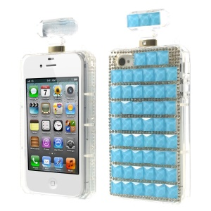 Blue Bling Diamond Perfume Bottle TPU Back Shell Cover for iPhone 4s 4