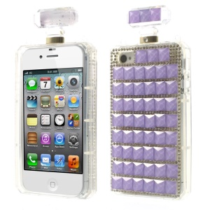 Purple Bling Diamond Perfume Bottle TPU Back Case Cover for iPhone 4s 4