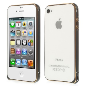 0.7mm for iPhone 4s 4 Hippocampal Buckle Aluminum Alloy Bumper - Black