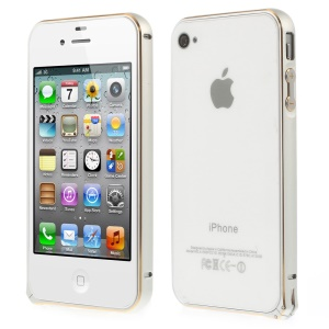 0.7mm for iPhone 4s 4 Hippocampal Buckle Aluminum Alloy Bumper Case - White