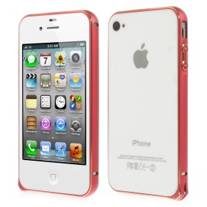 0.7mm for iPhone 4s 4 Hippocampal Buckle Aluminum Alloy Bumper Cover - Red