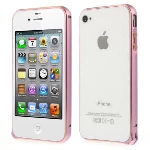 0.7mm for iPhone 4s 4 Hippocampal Buckle Aluminum Alloy Bumper Shell - Pink