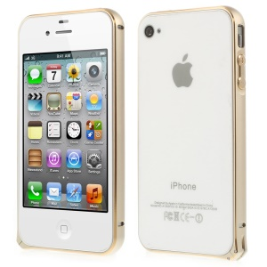 0.7mm for iPhone 4s 4 Hippocampal Buckle Aluminum Alloy Bumper Frame - Champagne