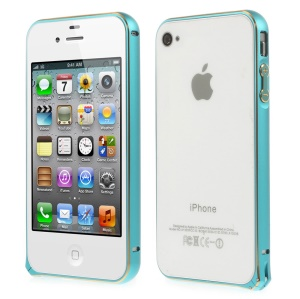 0.7mm for iPhone 4s 4 Hippocampal Buckle Aluminum Alloy Bumper Backless Case - Blue