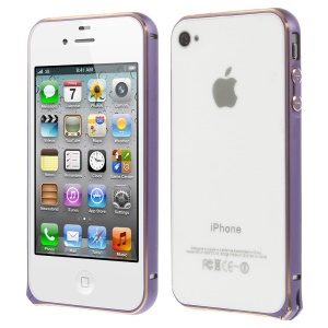 0.7mm for iPhone 4s 4 Hippocampal Buckle Aluminum Alloy Bumper Frame Shell - Purple