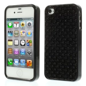 3D Rhinestone TPU Gel Case for iPhone 4s 4 - Black