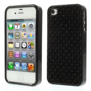 3D Rhinestone TPU Gel Case for iPhone 4s 4 - Black