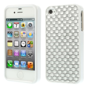 3D Rhinestone TPU Gel Cover for iPhone 4s 4 - White