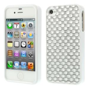 3D Rhinestone TPU Gel Cover for iPhone 4s 4 - White