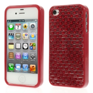 3D Rhinestone TPU Gel Shell for iPhone 4s 4 - Red