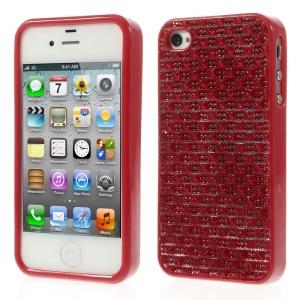 3D Rhinestone TPU Gel Shell for iPhone 4s 4 - Red