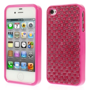 3D Rhinestone TPU Back Shell for iPhone 4s 4 - Rose