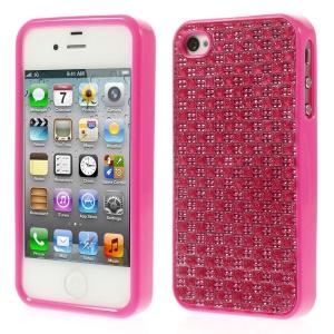 3D Rhinestone TPU Back Shell for iPhone 4s 4 - Rose