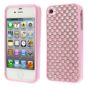 3D Rhinestone TPU Back Case for iPhone 4s 4 - Pink