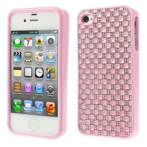 3D Rhinestone TPU Back Case for iPhone 4s 4 - Pink