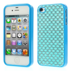 3D Rhinestone TPU Back Cover for iPhone 4s 4 - Blue