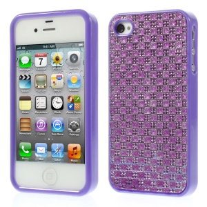 3D Rhinestone Flexible TPU Cover for iPhone 4s 4 - Purple