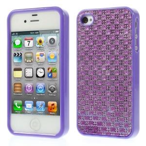 3D Rhinestone Flexible TPU Cover for iPhone 4s 4 - Purple