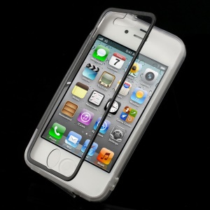 Black for iPhone 4s 4 Transparent Acrylic + TPU Flip Cover w/ Anti-dust Plug