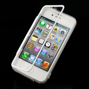 White for iPhone 4s 4 Transparent Acrylic + TPU Flip Cover w/ Anti-dust Plug