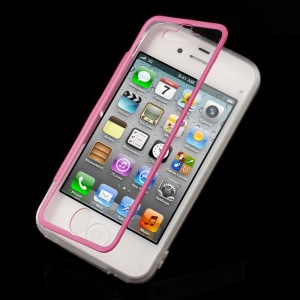 Rose for iPhone 4s 4 Transparent Acrylic + TPU Side Flip Case w/ Anti-dust Plug