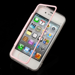 Pink for iPhone 4s 4 Transparent Acrylic + TPU Side Flip Case w/ Anti-dust Plug