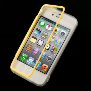 Yellow for iPhone 4s 4 Transparent Acrylic + TPU Flip Style Case w/ Anti-dust Plug