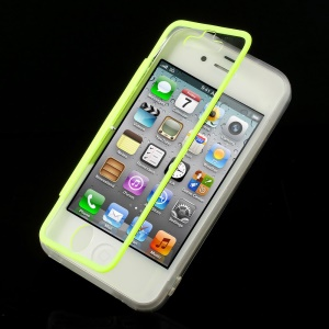 Green Transparent Acrylic + TPU Flip Style Case w/ Anti-dust Plug for iPhone 4s 4