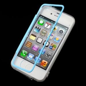 Blue Transparent Acrylic + TPU Flip Style Shell w/ Anti-dust Plug for iPhone 4s 4