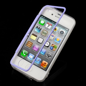 Purple Transparent Acrylic + TPU Flip Shell w/ Anti-dust Plug for iPhone 4s 4