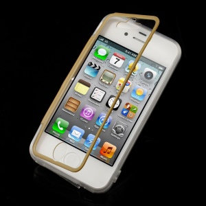 Brown Transparent Acrylic + TPU Flip Shell for iPhone 4s 4 w/ Anti-dust Plug